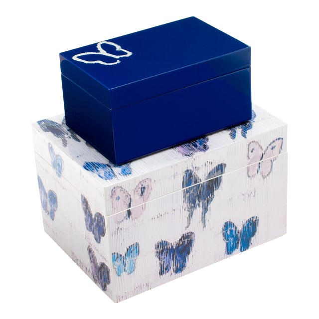 Hunt Slonem's Lacquered Blue Butterfly Box Set For Sale