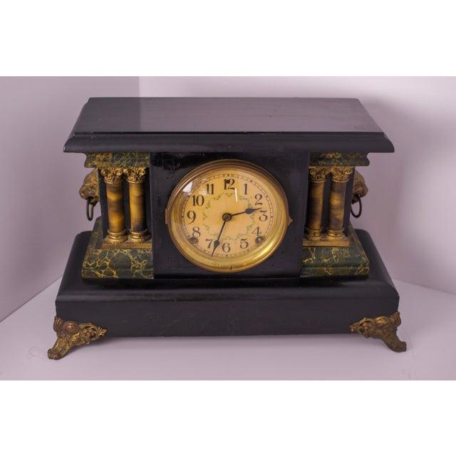 Bronze 1920s Antique Mantel Clock For Sale - Image 7 of 7