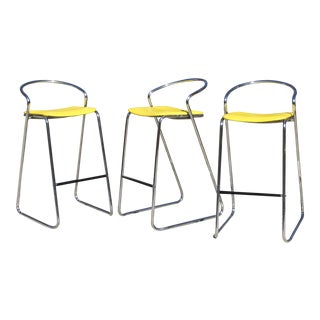 Italian Bar Stools in Polished Chrome by Hank Loewenstein - Set of 3