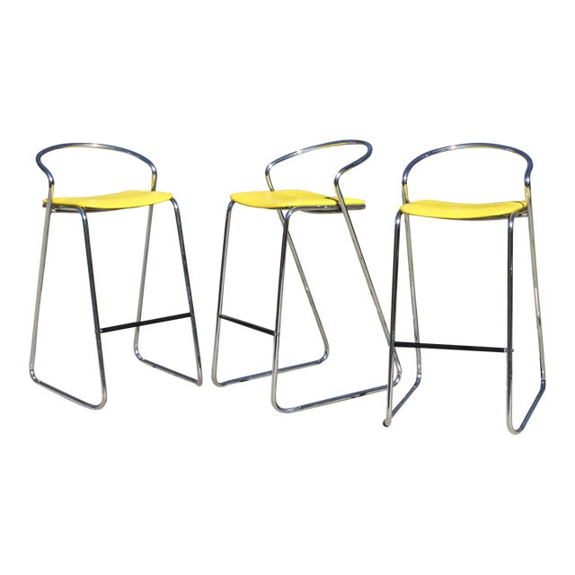 Italian Bar Stools in Polished Chrome by Hank Loewenstein - Set of 3 For Sale