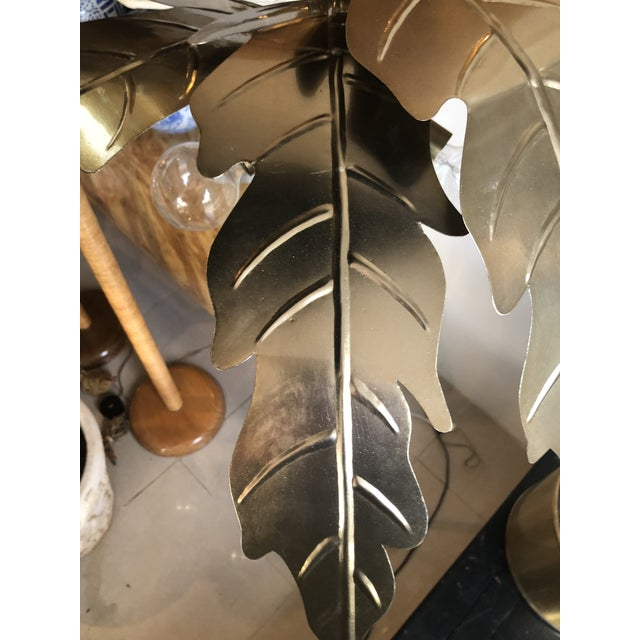 Lovely vintage gold metal brass palm tree leaf Frond leaves floor lamp with 3 lights. Leaves can be removed for shipping...