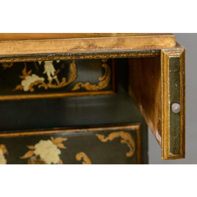 Chinoiserie Chippendale Style Hunter Green & Gilt Lacquered Secretaire For Sale - Image 9 of 13