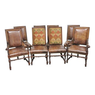 Walnut Barley Twist Leather Dining Chairs - Set of 8 For Sale