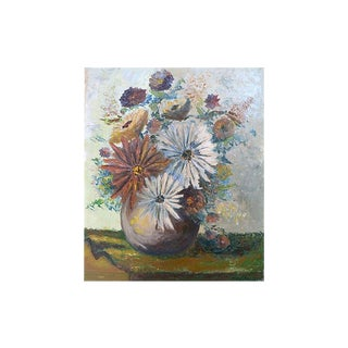 Mid Century Chrysanthemum Bouquet Still Life Painting For Sale