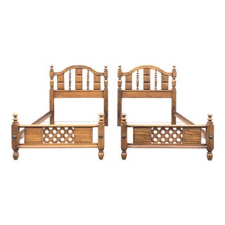 Solid Gothic Style Twin Beds - a Pair For Sale