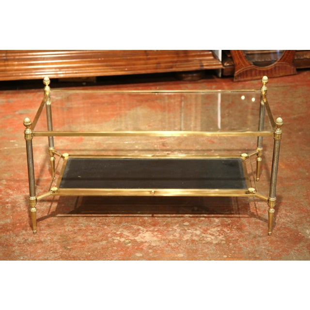 Mid-20th Century French Brass Steel and Leather Coffee Table from Maison Jansen - Image 3 of 9