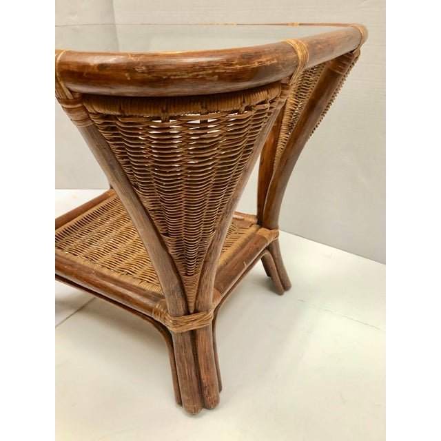 1940s Rattan and Wicker Side Table For Sale - Image 11 of 12