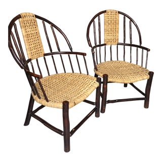 Hand Made Amish Cane & Wood Chairs - A Pair For Sale