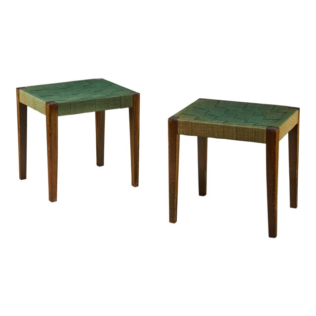 Axel Larsson Pair of Webbed Stools, Smf Bodafors, Sweden, 1920s For Sale