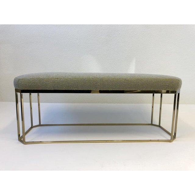 Hexagonal Shape Brass Bench by Milo Baughman For Sale In Palm Springs - Image 6 of 12