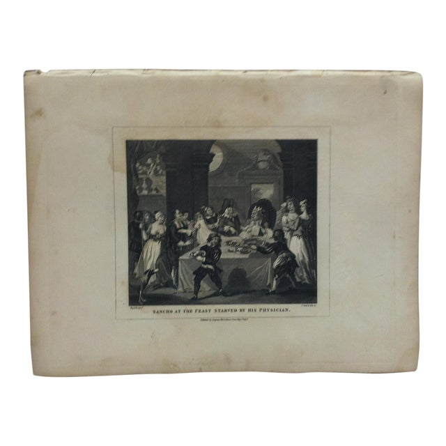 """1840s Antique """"Sancho at the Feast Starved by His Physician"""" John Hogarth Original Engraving Print For Sale"""