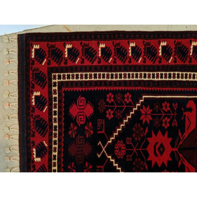 Islamic Persian, Hand- Woven Red Rug, With Braided Tassels, Vintage For Sale - Image 3 of 9