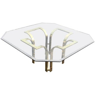 1970s Hollywood Regency Hexagonal Brass and Glass Coffee Table For Sale