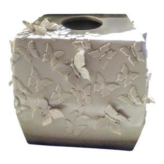 White Plaster 3 Dimensional Butterfly Tissue Box Cover Holder For Sale