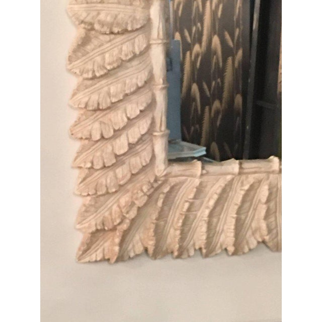 White Tropical Palm Tree Faux Bamboo Console Table & Mirror - A Pair For Sale - Image 8 of 11