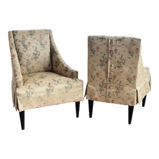 1960s Chinoiserie Regency Upholstered Slipper Chairs- Pair For Sale