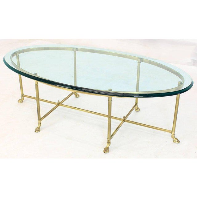 Gold 1970s Hollywood Regency Brass Oval Hoof Feet Coffee Table For Sale - Image 8 of 9