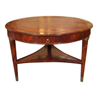 Antique French Louis Philippe Mahogany Leather Top Drum Table, circa 1840