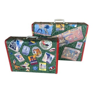Vintage Samsonite Hand Painted Decoupaged Suitcases - a Pair For Sale