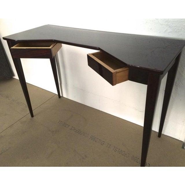 Maison Jansen refined black lacquered 2 doors lady desk.