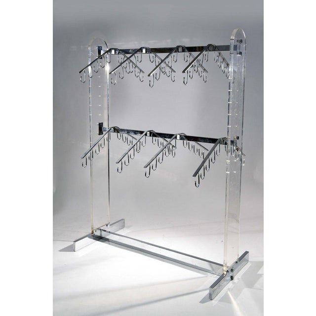 Chrome and Lucite Rack Fixture For Sale - Image 4 of 4
