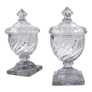 18th Century Pair of English Georgian Cut Swirled Glass Urns With Dome Lids For Sale