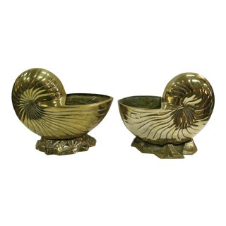 Vintage Huge Brass Nautilus Seashell Planters - a Pair For Sale