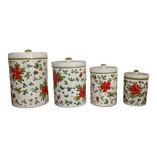 Vintage 1970's Italian Ceramic Canisters - Set of 4 For Sale