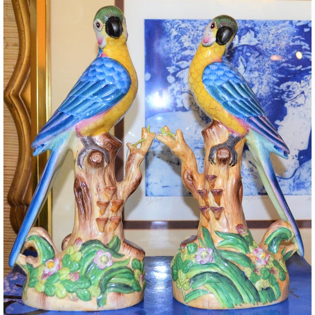 1980s Vintage Chinese Blue Majolica Parrot Figurines - a Pair For Sale - Image 5 of 15