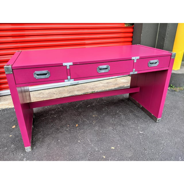 1980s Glossy Raspberry Bernhardt Campaign Desk For Sale - Image 10 of 10