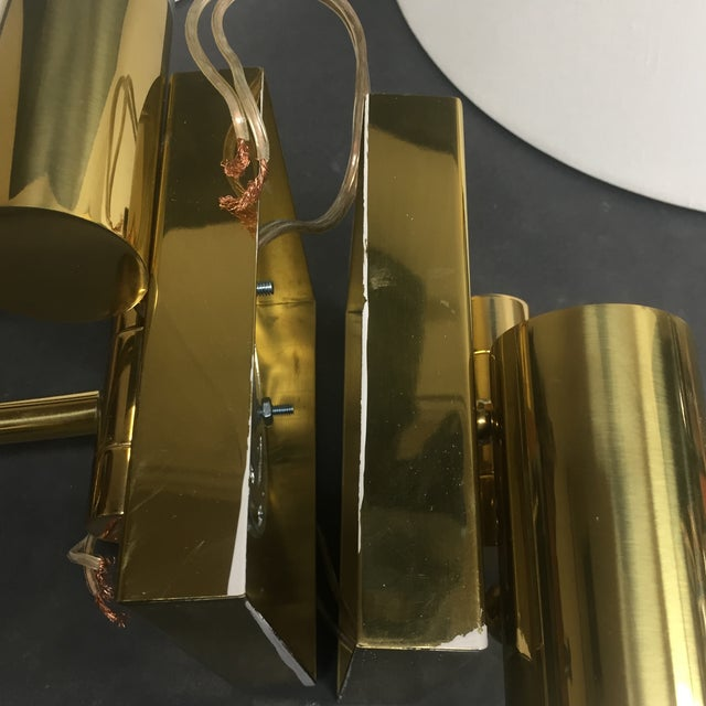 Textile Casella Satin Brass Oversized Swing Arm Wall Lamp and Linen Shade - a Pair For Sale - Image 7 of 11