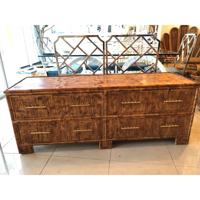 Vintage Split Reed Bamboo Credenza Sideboard For Sale In West Palm - Image 6 of 7