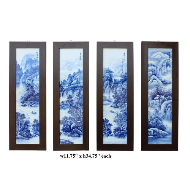 Chinese Blue & White Porcelain Wall Panels - Set of 4 - Image 6 of 6