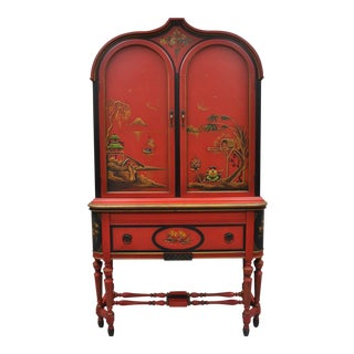 Red Chinoiserie Style Cupboard