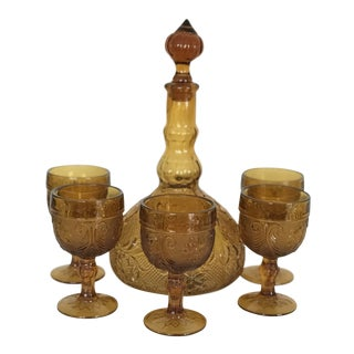 1970's Floral Design Indiana Glass Company Amber Glass Decanter Set - 6 Pieces For Sale