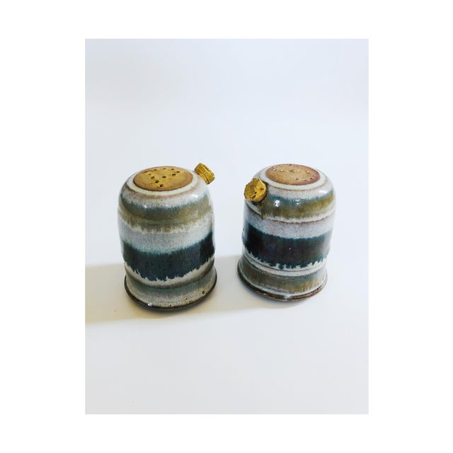 Gray Vintage Mid-Century Stoneware Studio Pottery Salt and Pepper Shakers - a Pair For Sale - Image 8 of 8
