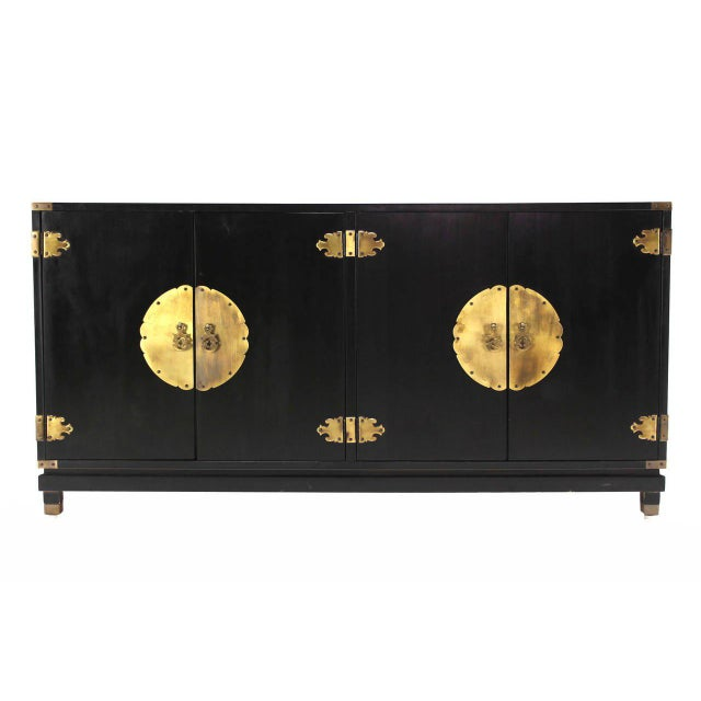 Black Lacquer Oriental Mid-Century Modern Sideboard or Credenza For Sale - Image 4 of 9