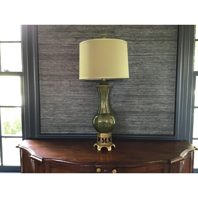 Artisan Olive Green Lamps - a Pair For Sale - Image 9 of 9