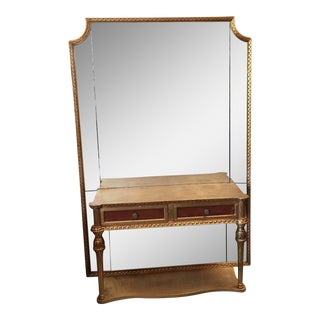 Neoclassical Gilt Console With Floor Mirror For Sale