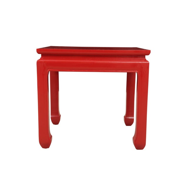 Asian Ming Style Red End Tables - a Pair For Sale - Image 3 of 6