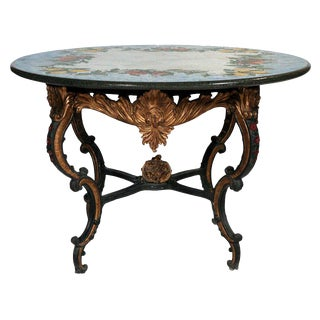 20th Century Rococo Style Base Table With a Painted Stone Top For Sale