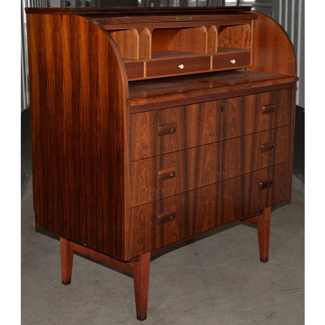 Mid 20th Century Danish Mid Century Modern Rosewood Cylinder Desk C.1960s Made in Sweden by Ostergaard For Sale - Image 5 of 8