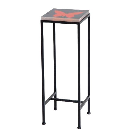 Contemporary Ellsworth Acrylic Drinks Table – Base: European Blue, Top: Butterfly Midnight/Poppy For Sale
