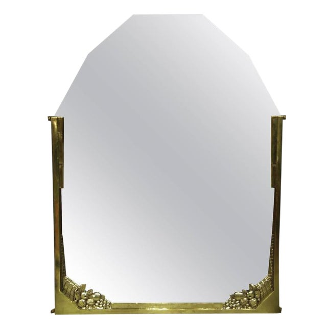 French Art Deco Brass Mirror For Sale
