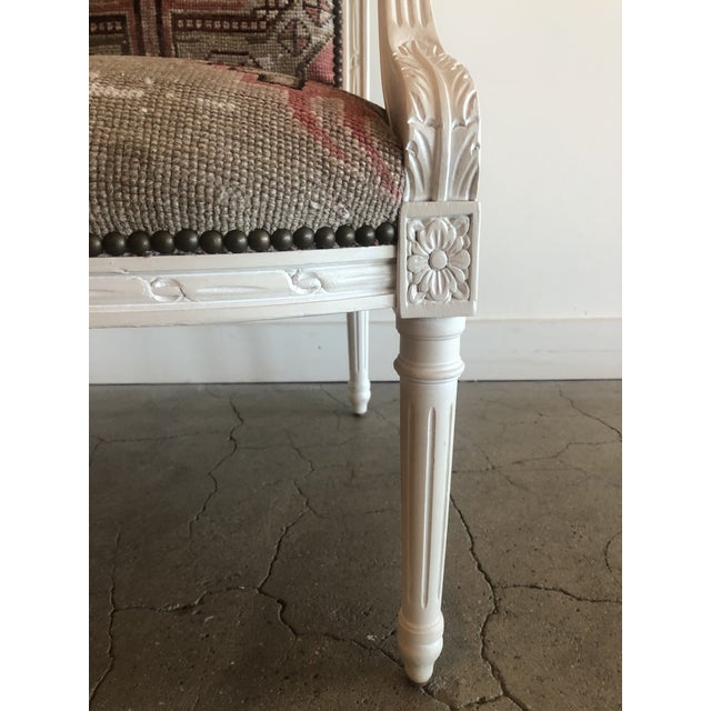 Early 20th Century Vintage Carved Italian Chair Upholstered in Antique Rug For Sale - Image 5 of 8