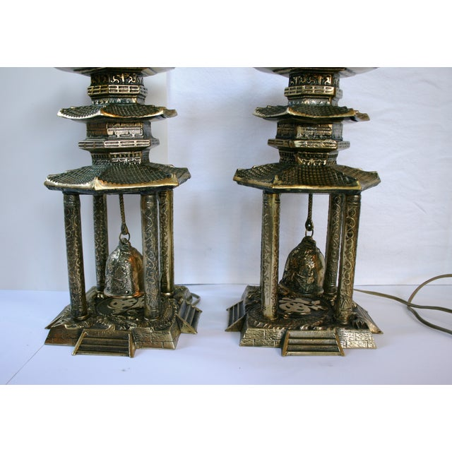 Vintage Brass Pagoda Lamps - A Pair For Sale In Austin - Image 6 of 11