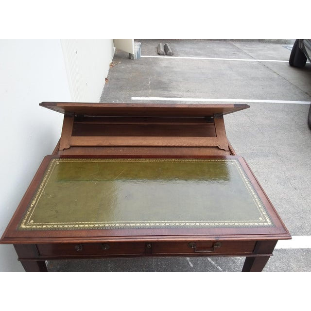 Animal Skin English Drafting Partners Table With Green Leather Top For Sale - Image 7 of 12
