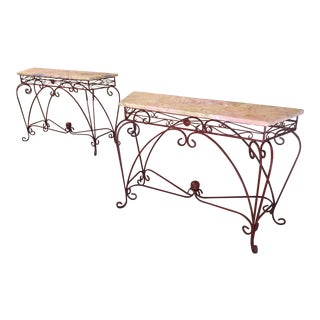 Forged Iron & Marble Console Tables - A Pair