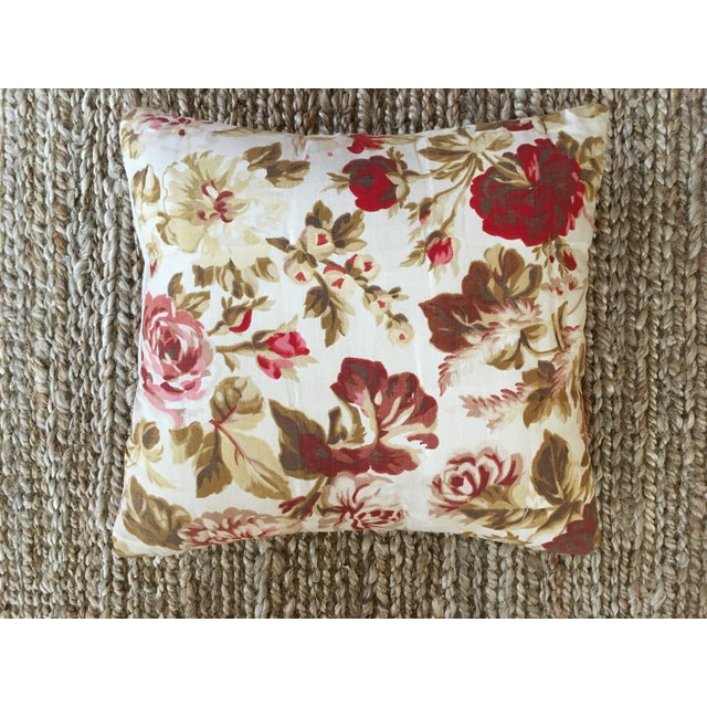 Vintage French Floral & Linen Textile Accent Pillow - Image 8 of 8