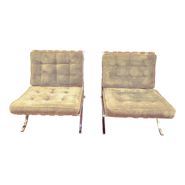 Mid Century Italian Barcelona Cloth Chairs For Sale